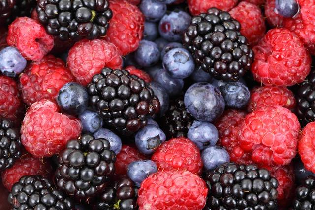 ostružiny, borůvka a maliny